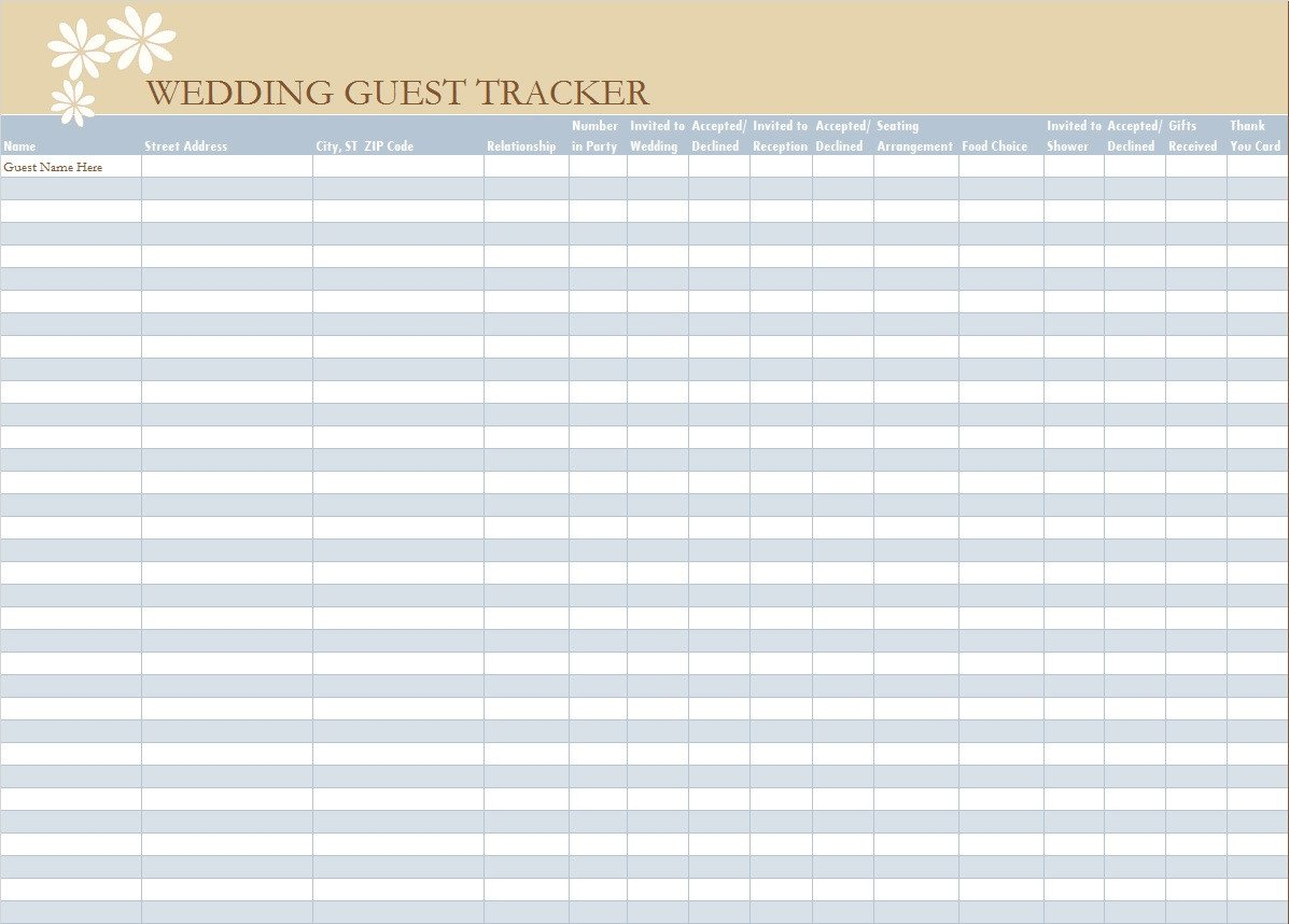 Wedding Guest List Template 30 Free Wedding Guest List Templates Templatehub