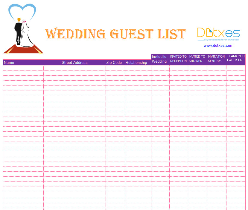 Wedding Guest List Template Blank Wedding Guest List Template Dotxes
