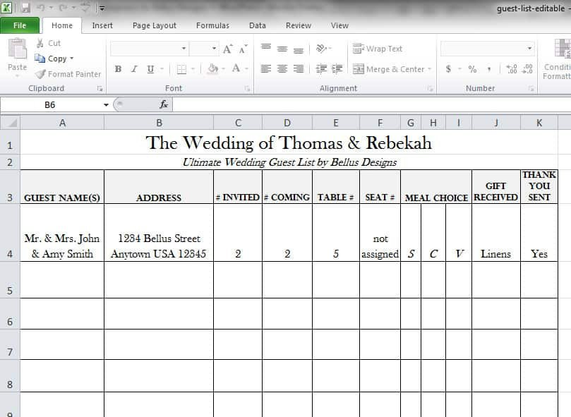 Wedding Guest List Template Excel 17 Wedding Guest List Templates Excel Pdf formats