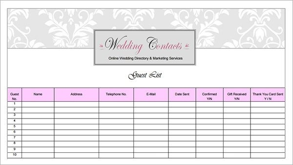 Wedding Guest List Template Excel 17 Wedding Guest List Templates Pdf Word Excel