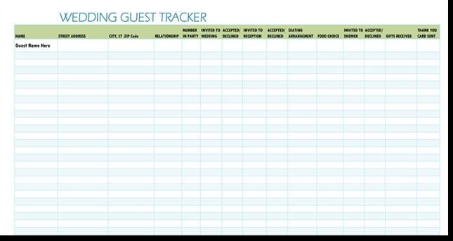 Wedding Guest List Template Excel Free Wedding Guest List Templates for Word and Excel