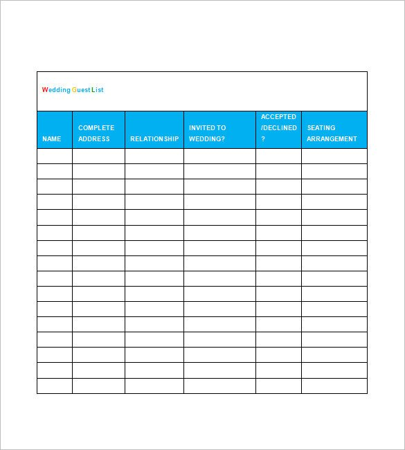 Wedding Guest List Template Excel Printable Wedding Guest List Template Spreadsheet