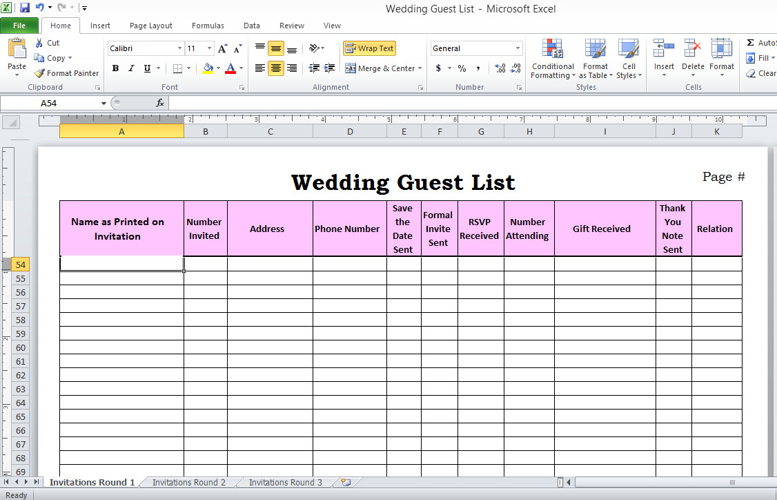 Wedding Guest List Template Excel Wedding Guest List In Excel Need to Use This or something
