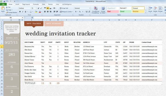 Wedding Guest List Template Excel Wedding Invite List Template for Excel 2013