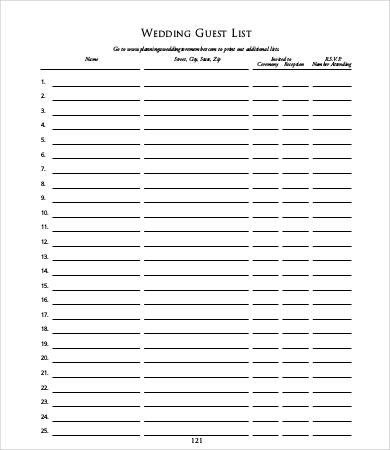 Wedding Guest List Template Guest List Templates 9 Free Word Pdf Documents