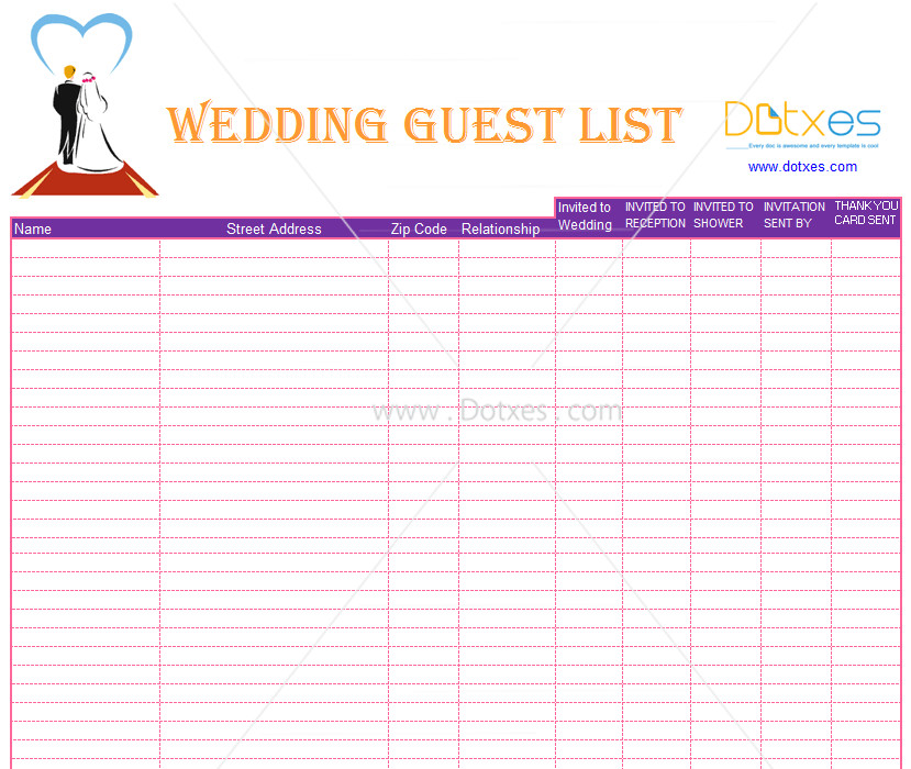 Wedding Guest List Template List Template Find Your One now A Blank and Simple