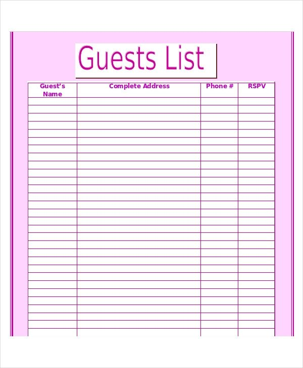 Wedding Guest List Template Wedding Guest List Template 9 Free Word Excel Pdf