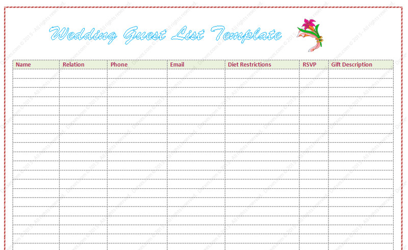 Wedding Guest List Template Wedding Guest List Template Word Dotxes