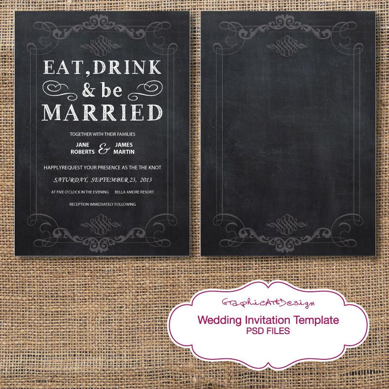 Wedding Invitation Templates Photoshop Chalkboard Wedding Invitation Card Shop by