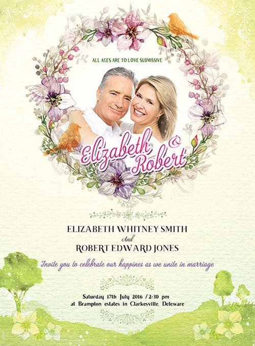 Wedding Invitation Templates Photoshop Wedding Invitation Free Psd Flyer Template Download for