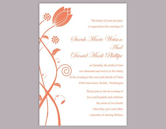Wedding Invitation Templates Word Diy Wedding Invitation Template Editable Word File Instant
