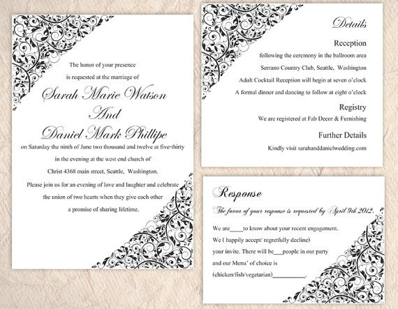 Wedding Invitation Templates Word Diy Wedding Invitation Template Set Editable Word File