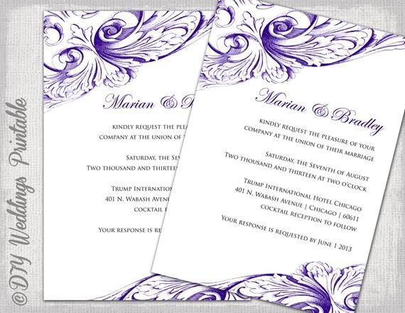 Wedding Invitation Templates Word Wedding Invitation Template Eggplant Diy Wedding Invitations