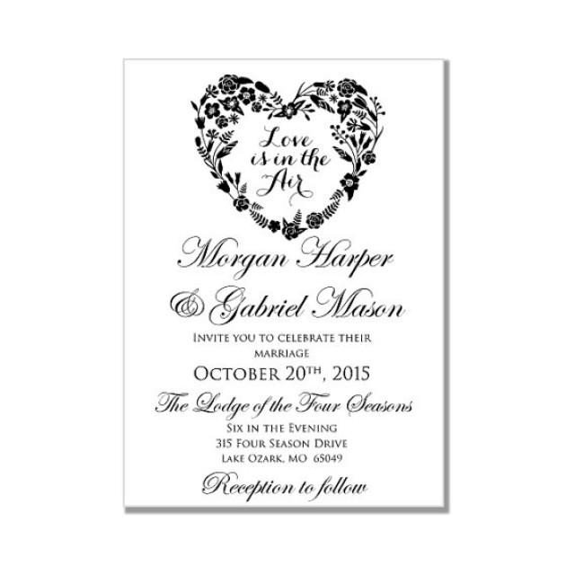Wedding Invitation Templates Word Wedding Invitation Template Love is In the Air Heart