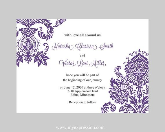 Wedding Invitation Templates Word Wedding Invitation Template Purple Damask Instant Download