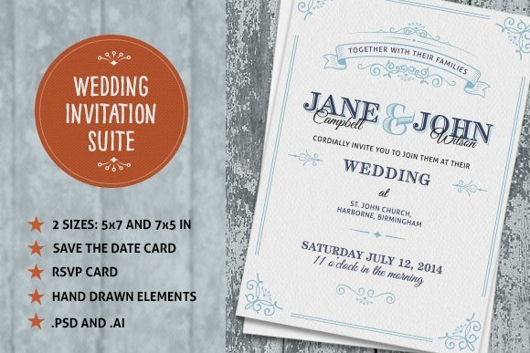Wedding Invitations Photoshop Template Wedding Invite Suite Wedding Templates Creative Market