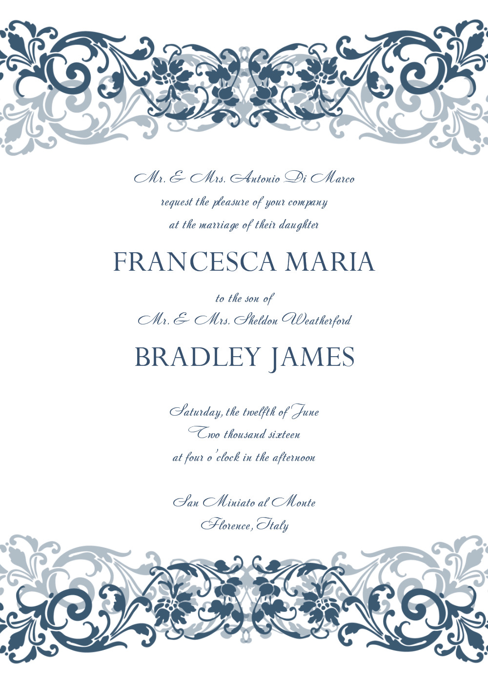 Wedding Invite Wording Template 8 Free Wedding Invitation Templates Excel Pdf formats