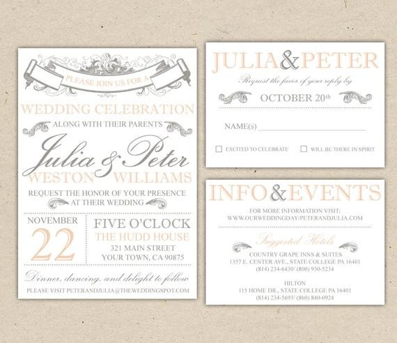 Wedding Invite Wording Template Rustic Wedding Invitation Template Vintage Modern Printable