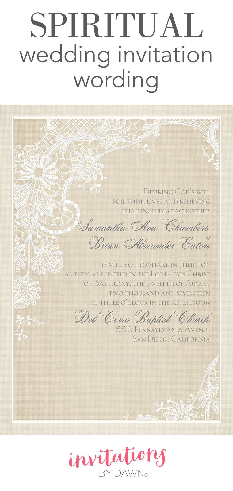 Wedding Invite Wording Template Spiritual Wedding Invitation Wording