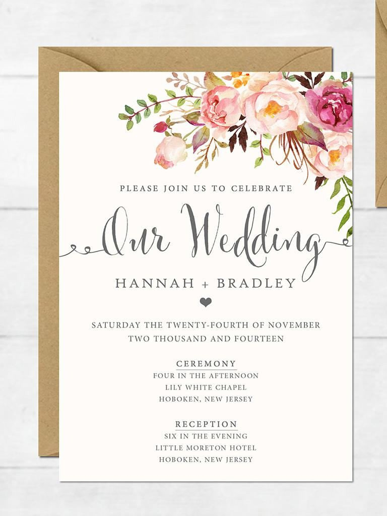 Wedding Invite Wording Template Wedding Invitation Printable Wedding Invitation