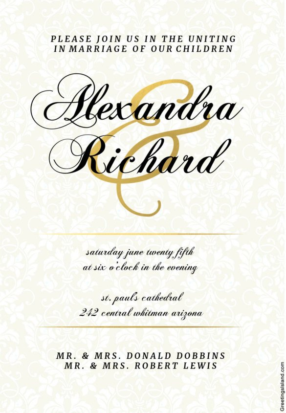 Wedding Invite Wording Template Wedding Invitation Template 71 Free Printable Word Pdf