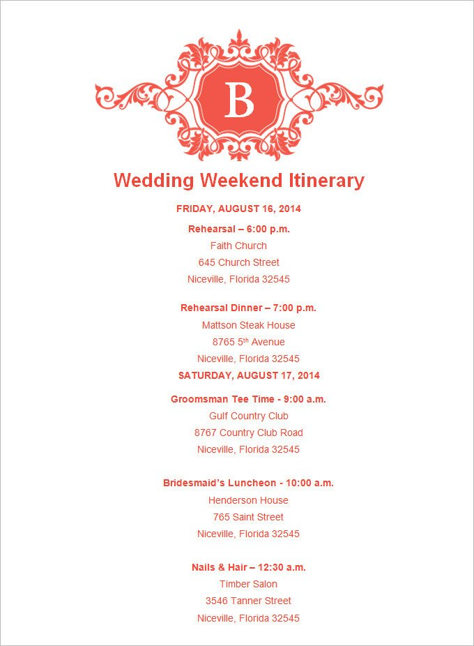 Wedding Itinerary for Guests 4 Sample Wedding Weekend Itinerary Templates Doc Pdf