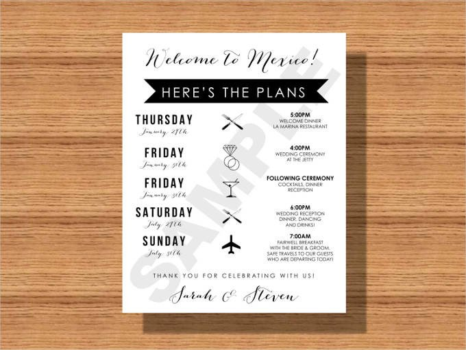 Wedding Itinerary for Guests 44 Wedding Itinerary Templates Doc Pdf Psd