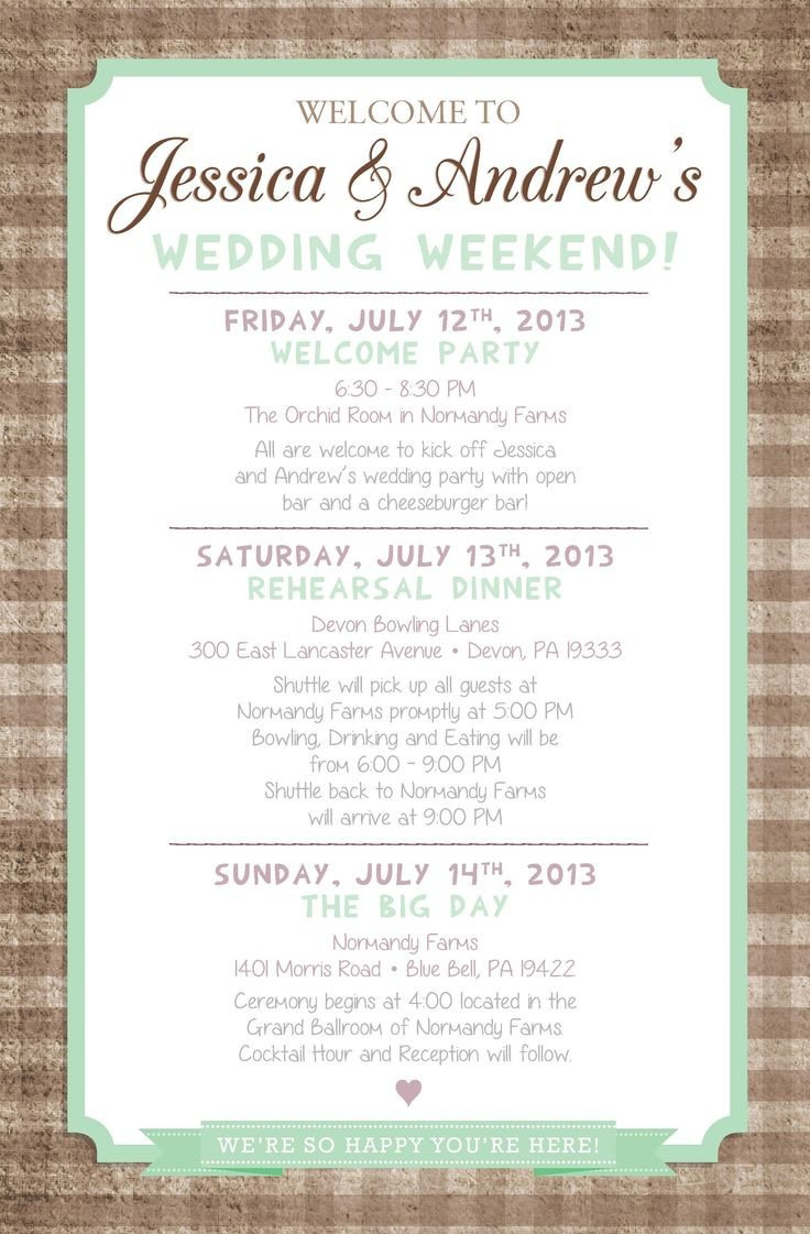 Wedding Itinerary for Guests Country Chic Wedding Weekend Itinerary by Paper & Lace