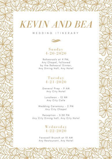 Wedding Itinerary for Guests Customize 176 Wedding Itinerary Planner Templates Online