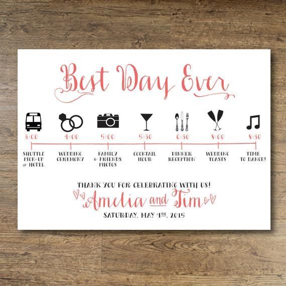 Wedding Itinerary for Guests Printable Wedding Day Guest Itinerary Card by Ohdarlingpaper