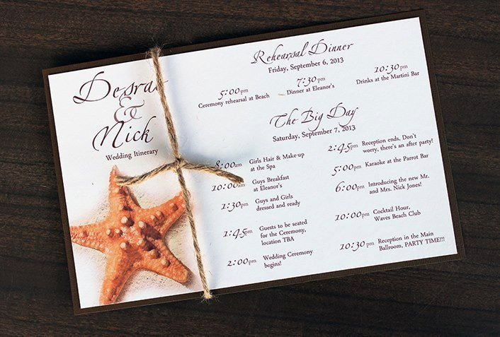 Wedding Itinerary for Guests Starfish Tropical Destination Beach Wedding Itinerary