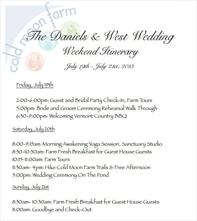 Wedding Itinerary for Guests Wedding Itinerary Template 8 Download Free Documents In