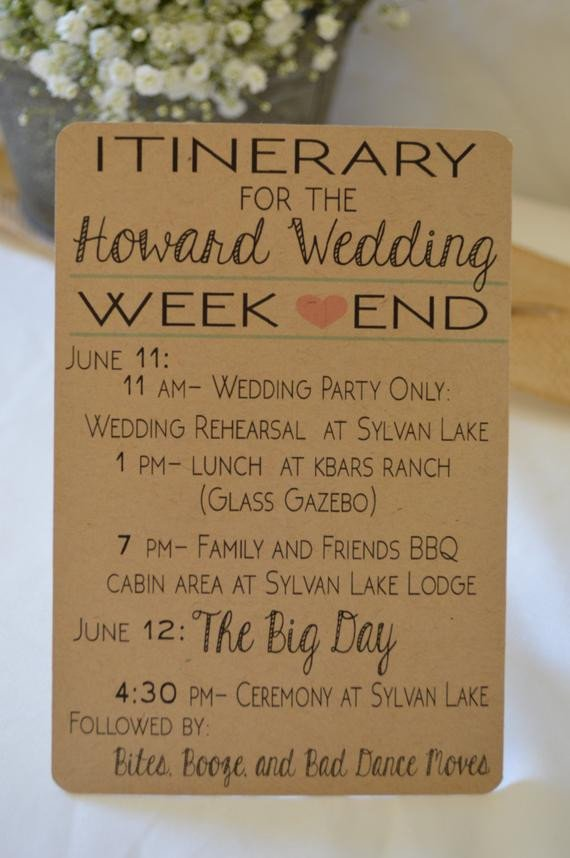 Wedding Itinerary for Guests Wedding Weekend Itinerary Destination Wedding Hotel Guest