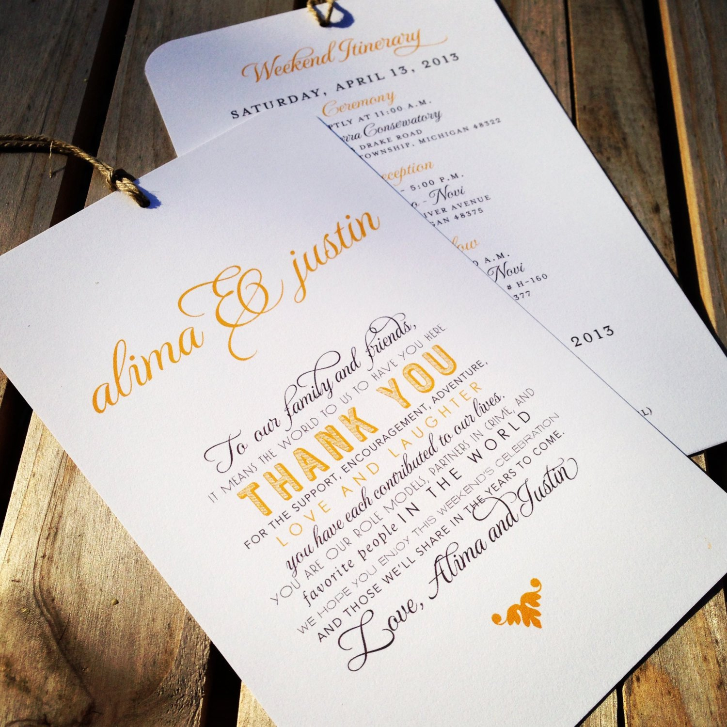 Wedding Itinerary for Guests Wedding Wel E Itinerary Hang Tag Out Of town Guest