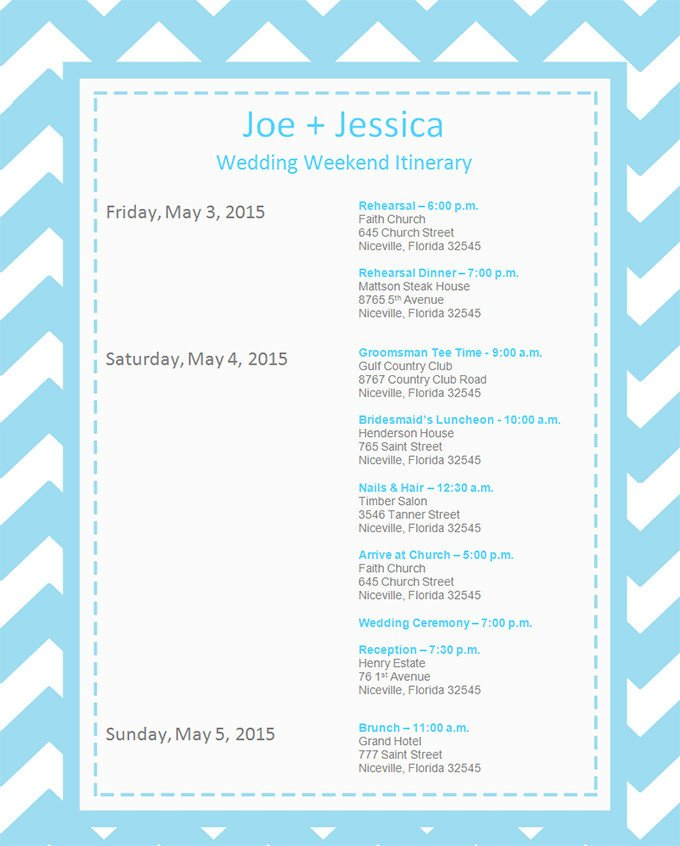 Wedding Itinerary Templates Free 11 event Itinerary Template Doc Pdf Psd