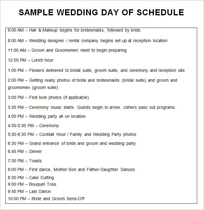 Wedding Itinerary Templates Free 28 Wedding Schedule Templates & Samples Doc Pdf Psd
