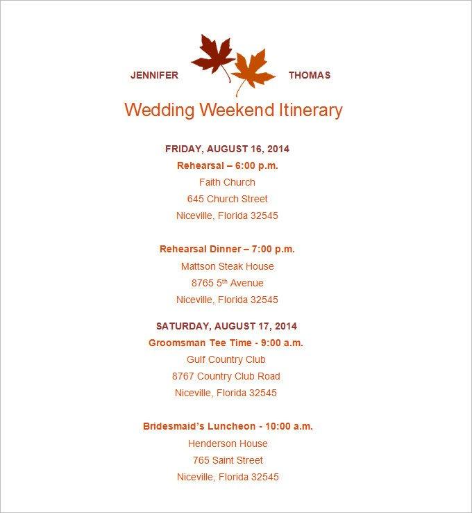 Wedding Itinerary Templates Free 4 Sample Wedding Weekend Itinerary Templates Doc Pdf