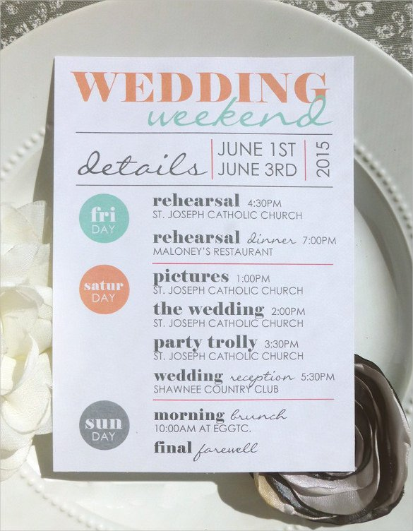 Wedding Itinerary Templates Free 44 Wedding Itinerary Templates Doc Pdf Psd