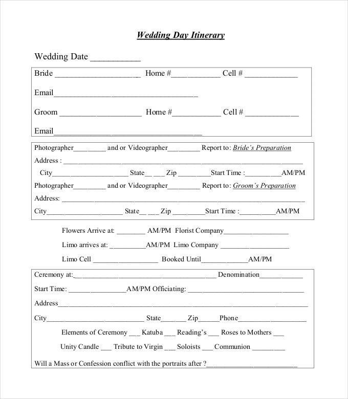 Wedding Itinerary Templates Free 44 Wedding Itinerary Templates Doc Pdf Psd