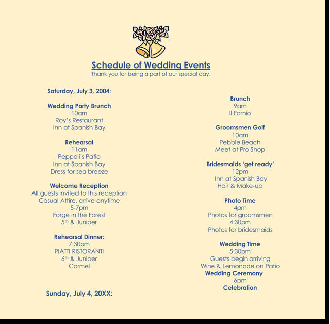 Wedding Itinerary Templates Free 8 Free Wedding Itinerary Templates and Schedule Templates