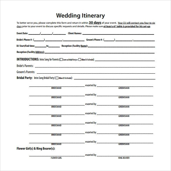 Wedding Itinerary Templates Free Wedding Itinerary 8 Download Documents In Pdf Psd Excel