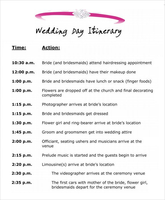 Wedding Itinerary Templates Free Wedding Itinerary Template 8 Download Free Documents In