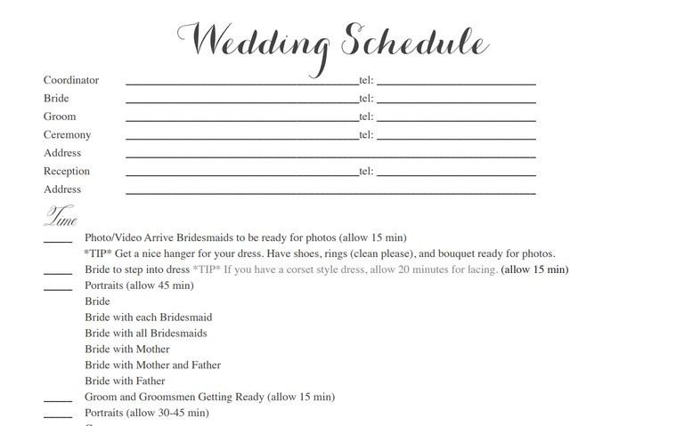 Wedding Itinerary Templates Free Wedding Schedule Template