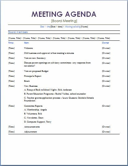 Wedding Meeting Agenda Template 10 formally Used Agenda Templates