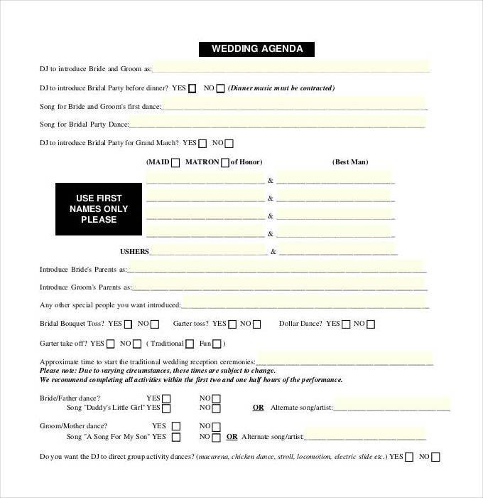 Wedding Meeting Agenda Template 44 Wedding Itinerary Templates Doc Pdf Psd