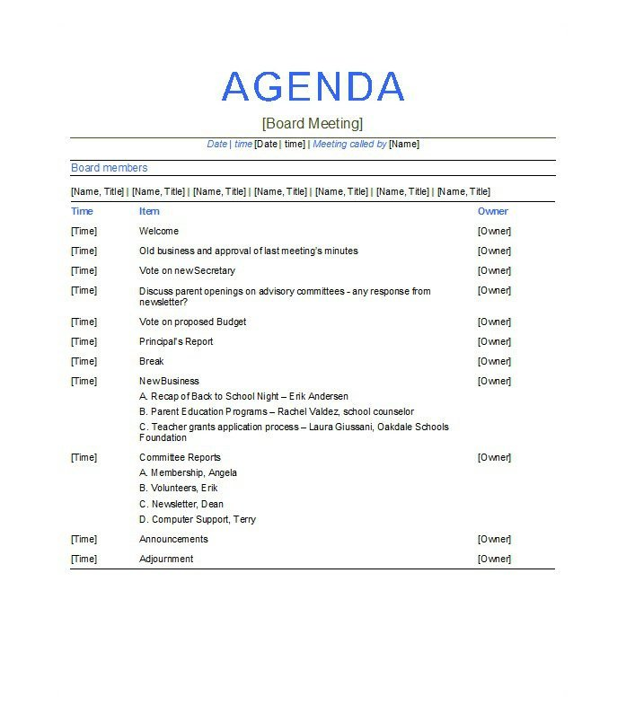 Wedding Meeting Agenda Template 46 Effective Meeting Agenda Templates Template Lab