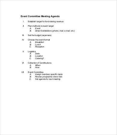 Wedding Meeting Agenda Template Mittee Agenda Template 9 Free Word Pdf Documents