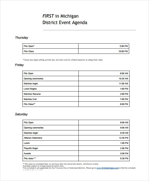 Wedding Meeting Agenda Template Sample event Agenda 7 Documents In Pdf Word
