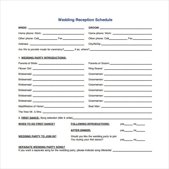 Wedding Meeting Agenda Template Wedding Agenda 9 Download Free Documents In Pdf