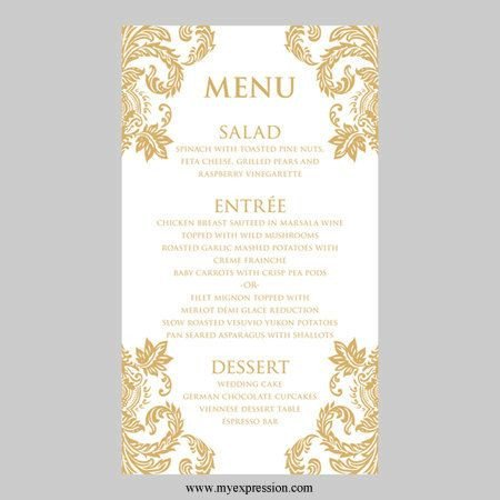 Wedding Menu Card Templates 31 Best Menus Images On Pinterest